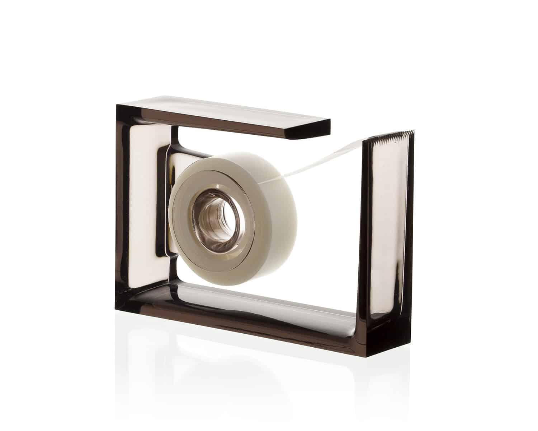 Lexon – ROLL-AIR, dispenser da scrivania per il nastro adesivo. Colore trasparente-grigio. – LD131G