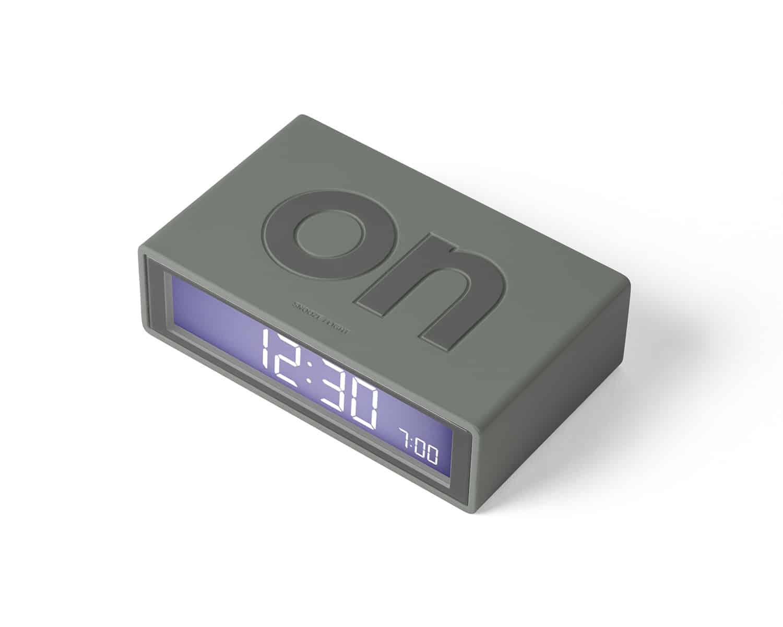 Lexon – Orologio sveglia  Flip Deco, sistema ON/OFF, colore grigio. – LR130G7