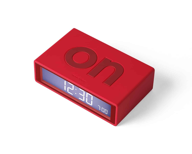 Lexon – Orologio sveglia  Flip Deco, sistema ON/OFF, colore rosso scarlatto. – LR130R7