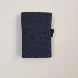 Whold – Portafoglio Whold modello Slim in Jeans con finiture interne in pelle rossa. Protezione RFID. – W101D/R