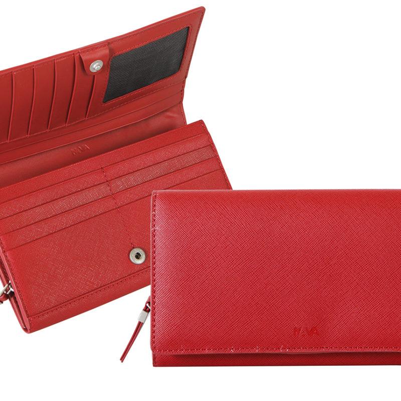 """Nava Design – Portafoglio Nava Design  da donna della linea """"Via Durini"""". Rosso – VD437R"""