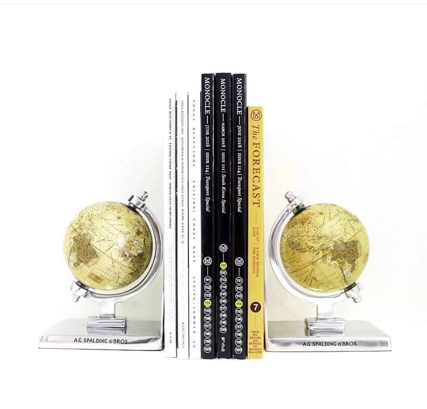 Spalding&Bros – Coppia di reggilibri Spalding&Bros con soggetto globi vintage – 862846U828