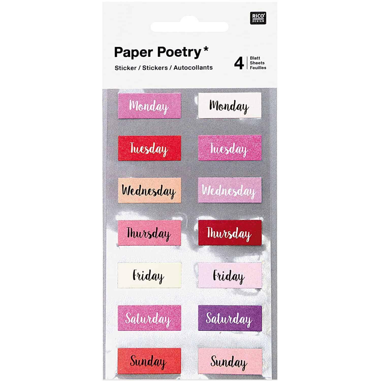 Rico Design – Stickers Weekdays Pink per Bullet Journal-giorni della settimana. – 4,05E+12